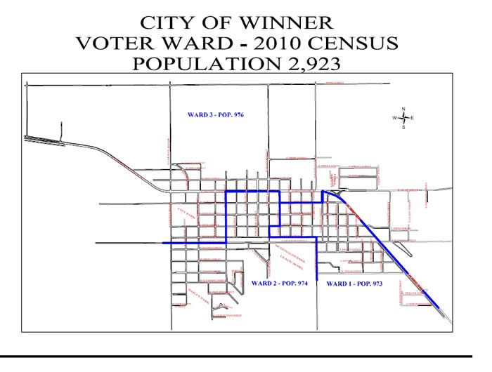City of Winner Voter Ward - 2010 Census